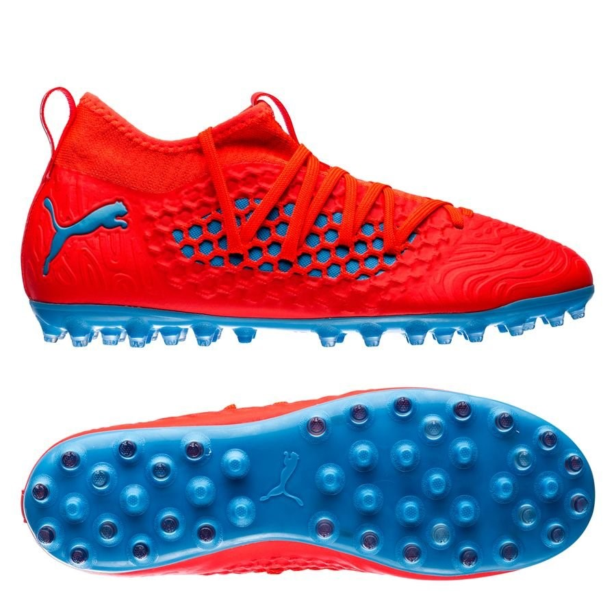Oferta Botas Puma Future 19.3 Netfit Niños MG Power Up Rojo Azul